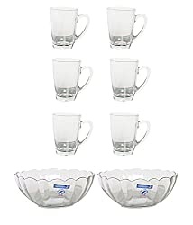 Luminarc New Morning Office Tea Set Glass & Mug ,150 Ml, Pack Of 8