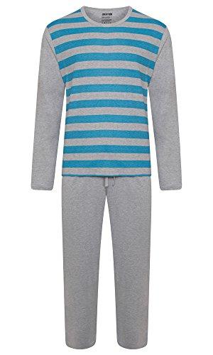 Herren Lounge PJ Pyjamas Sets Night Wear PJ 's 2Stück Schlafanzug Set Gents New Styles Gr. Medium, Marl Grey / Light Blue Stripes (Herren Lounge-set)