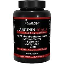 Biomenta L-ARGININA + MACA ALTAMENTE DOSIFICADA | con 1.500 mg L-ARGININA + 3.500 mg Maca + OPC + Avena Sativa + Espirulina + Cinc + Molibdeno | 140 cápsulas de Maca | fabricación alemana