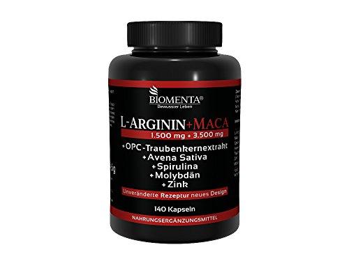 Biomenta L-ARGININ + MACA HOCHDOSIERT | mit 1.500 mg L-Arginin + 3.500 mg Maca + OPC + Avena Sativa + Spirulina Algen + Zink | Für aktive Frauen und Männer | 140 Maca-Kapseln - Premium Qualität Deutscher Herstellung