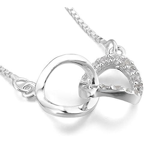 MunkiMix 925 Sterling Silver Pendente Ciondolo Collana Zirconia Cubica Zircone Infinity Infinito Elegante Regolabile 16~18 Pollici Sterling Silver Catena Catenina Donna