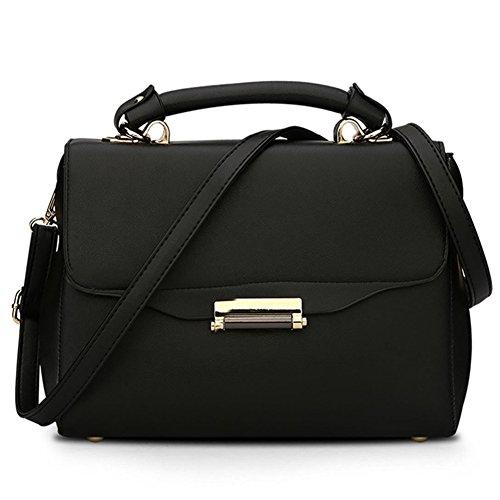 ea9eba5872a02 fanhappygo Fashion Retro Leder Damen message taschen Schulterbeutel  Umhängetaschen Tote Taschen Abendtaschen schwarz