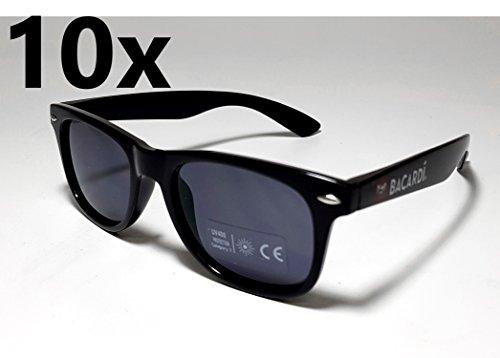 Preisvergleich Produktbild Bacardi Sonnenbrille Wayfarer Nerd Brille UV 400 Schutz - 10er Set