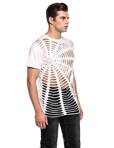 Coofandy Herren Shirts Party Outfit Netz Strings Spinne T-Shirt C-Weiß