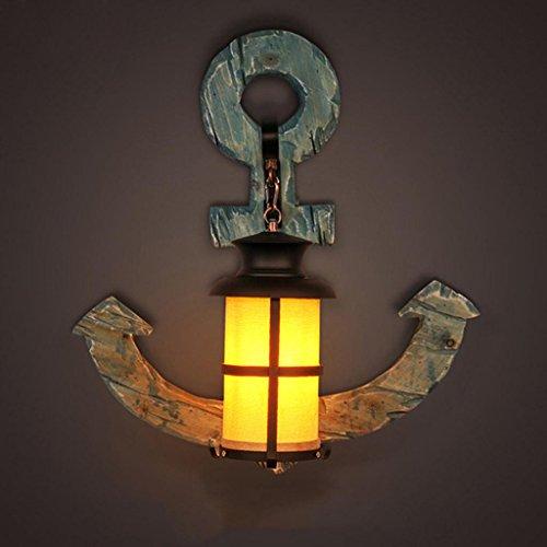 SADWF Retro industrielles Art-festes hölzernes Boot-Anker-Wand-Lampen-kreative Stab-Kaffee-Studio-Beleuchtung 51 * 55cm Lichtquelle E27
