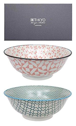 Tokyo Design Studio, Bol en porcelaine, Diamètre 20.5cm - Coffret de 2, Geometric Eclectic