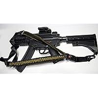Acido Tactical® 550Paracord corda da paracadute per fucile con bussola e pietra focaia 127cm per Airsoft e Paintball, colore: verde mimetico/nero) - Paintball Gun Slings