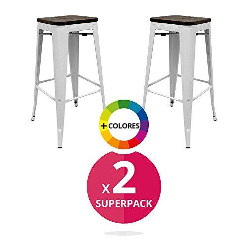 cadeauxMiguel - Pack 2 Tabourets industriels Durik avec siège en bois Blanc