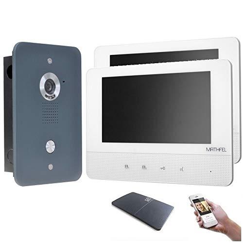 4 Draht Video Türsprechanlage Gegensprechanlage 7\'\' Monitor, Außenstation in Anthrazit mit oder ohne WLAN Schnittstelle, Farbe: Mit, Größe: 2x7\'\' Monitor mit WLAN Schnittstelle