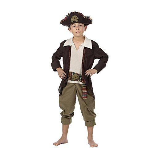 Costume da capitano pirata bambini 3pezzi Redingote Cappello da pirata per carnevale marrone bianco, Bambino, Brown, 5-7 anni
