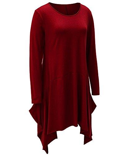 Donna Girocollo Lunga Top Irregolare Mini Abiti Camicetta Pullover Oberteil Bluse e Camicie Vino Rosso