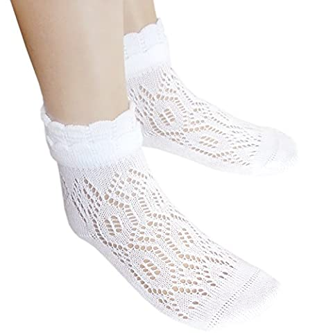 School girls white Pointelle cotton ankle socks with hand linked flat toe seams (UK6-8.5/ EU23-26, 2 pairs