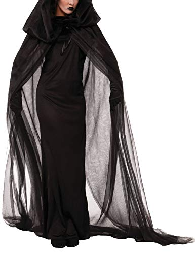ween Kostüm Lang Schwarz Kleider Lang Umhang mit Kapuzen Hexenkostüm Vampir Braut Cosplay Uniform(BL,2XL) ()