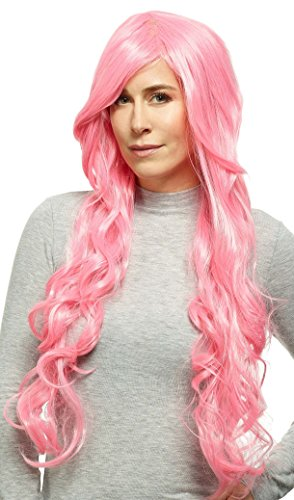 DEUBL Damen Perücke 'Harley' weibliche Perücke Rosa/Pink lang glatt und lockig gewellt aus Kanekalon Kunsthaar (wie Echthaar) mit geringem Eigengewicht, waschbar, atmungsaktiv, Kopfumfang verstellbar, inkl. Haarnetz