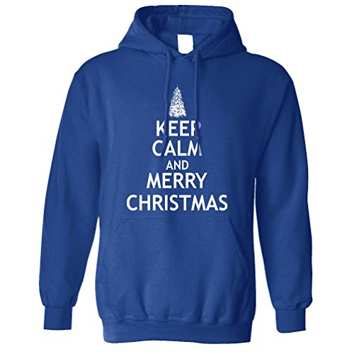 Weihnachten Kapuzenpullover Halten Sie Ruhe und Merry Xmas Royal Blue X-Large (Kleidung Royals Baum)