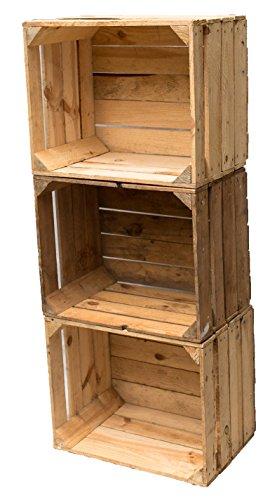 Gebrauchte Holzkisten im Set Angebot: Originale Vintage Obstkisten zum Möbelbau od. als Dekoration, sehr stabile Apfelkisten, geprüft und gereinigt 50x40x30 cm (3er Set)