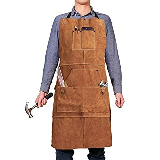 Leather Welding Apron with 6 Pockets - Heavy Duty Tools Shop Work Apron, 24