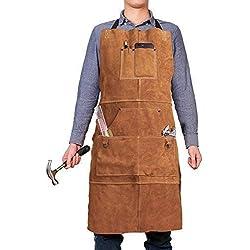 Delantal de cuero para soldar, para taller, resistente, con 6 bolsillos para herramientas
