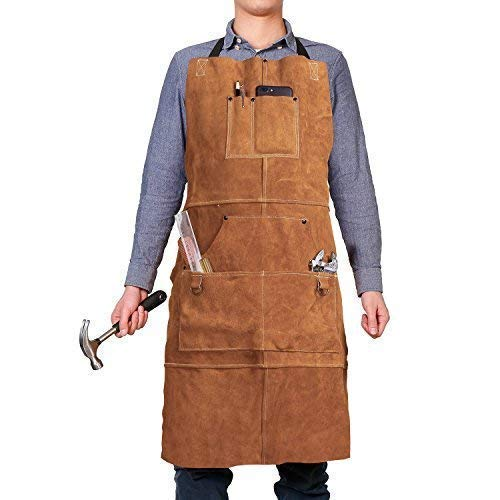 "Leather Welding Apron with 6 Pockets - Heavy Duty Tools Shop Work Apron, 24"" x 36"", Adjustable M to XXL for Men & Women (Brown)"