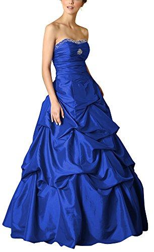 Romantic-Fashion Damen Ballkleid Abendkleid Brautkleid Lang Modell E463 A-Linie Perlen Pailletten DE Blau Größe 44