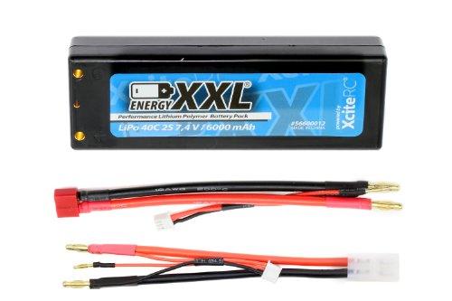 XciteRC 56600012 - Batteria Energy XXL Performance Lipo 40C 2S, con custodia, connettori placcati in oro, cavo adattatore spina T e JST, 7,4 V, 6000 mAh