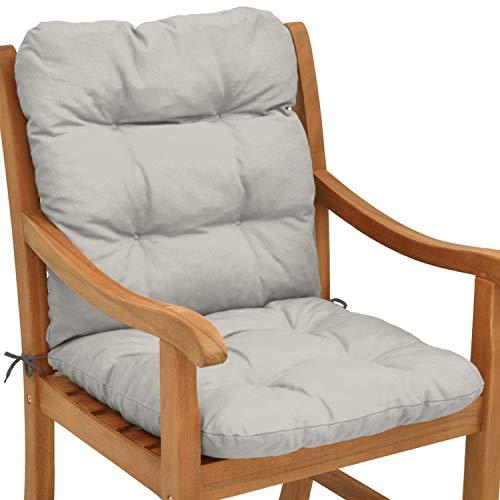 Beautissu cuscino per sedie da giardino flair nl100x50x8cm - comoda e soffice imbottitura - ideale anche per spiaggine - grigio chiaro