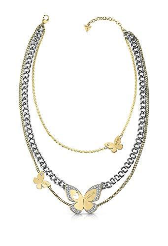 Raten Sie Halsband Liebes-Schmetterling bicolor chirurgischem Edelstahl UBN78036 [AC1141] (Halsband-empfänger)