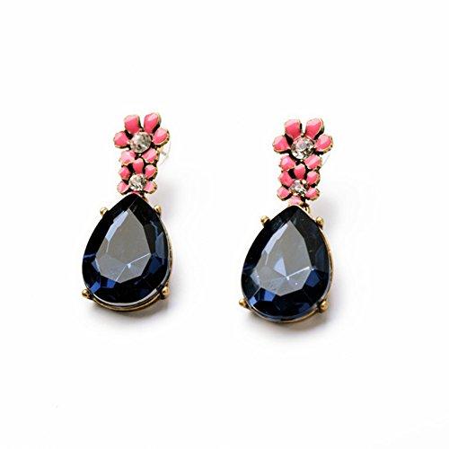Tonpot 1coppia cute Beautiful elegant creative strutturato Drop Glaze Flower zaffiro Water Drop orecchini da donna per donne ragazze