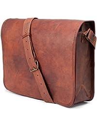 ECHO Vintage Handmade Full Flap 100% Genuine Leather Messenger Bag/Office Bag/Tablet Bag (Caramel Brown)