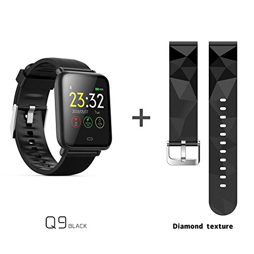 Winner Smart Armband Bluetooth, wasserdicht Q9 Plus 3,9 cm HD Farbe Touchscreen Smart Watch mit Armband Schritt Zähler Herzfrequenz & Sleep Monitor Sport Smart-Armband Antiverlust für iOS/Android