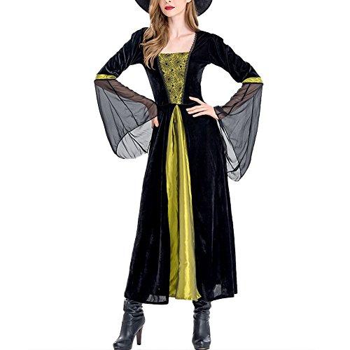 Damen Halloween Hexenkostüm, Karneval Hexen Robe + Hexenhut, Fasching Mittelalter Kostüm,Schwarz Langarm Maskenkostüm Für Cosplay + Karneval + Allerheiligen + Motto Partys