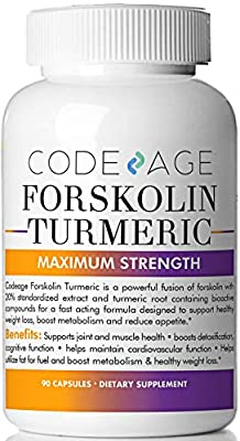 Code Age Extra Strength Turmeric Forskolin Weight Loss Formula - 90 Count, Fat Burner & Belly Buster Diet Pills from Codeage