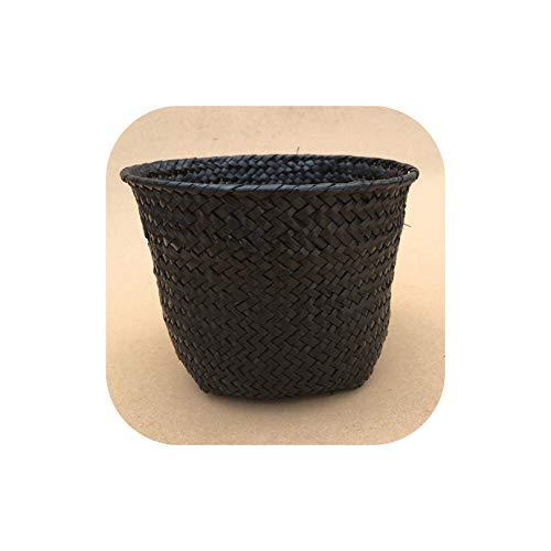 1Pc Handgefertigte Bambus Storage Baskets Wäscherei Straw Patchwork Wicker Rattan Seegras Garten Blumentopf Pflanzer Korb, Schwarz, L -