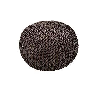 AHOC 40/50cm Handgefertigt Strick Marokkanische groß Rund Polsterhocker Fußhocker Chunky Hand Knit Pouf Fuß-Hocker Modernes Living, Sitzkissen, Braun, 40 cm