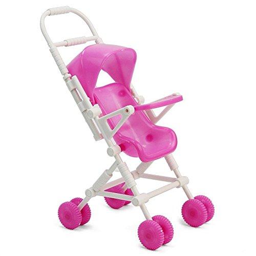 SelfTek Baby Carriage Walking Stroller Lovely Plastic Trolley For Barbie Doll Nursery Furniture
