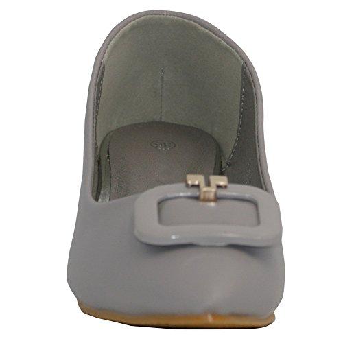 AalarDom Damen Weiches Material Spitz Zehe Ziehen Auf Pu Leder Pumps Schuhe Grau-Schnalle