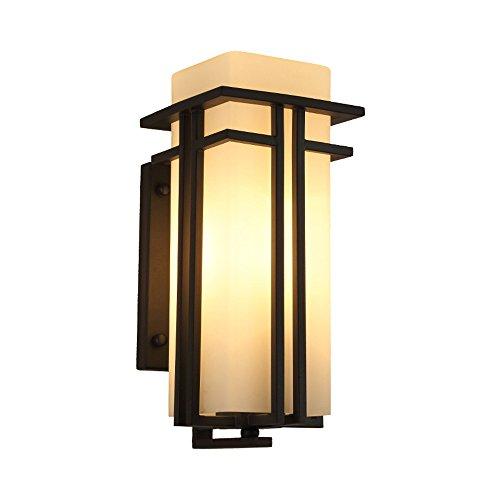 Pointhx Simple Moderne Extérieure Étanche Noir Fer Lampe Murale Creative Allée Balcon Patio Villa Appliques Murales Applique Avec Lait Blanc Abat-Jour (Taille : S)