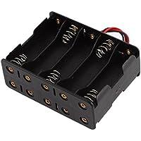 Las dos caras Baterías cuadro titular de contenedores de 10 x batería de 1.5V AA