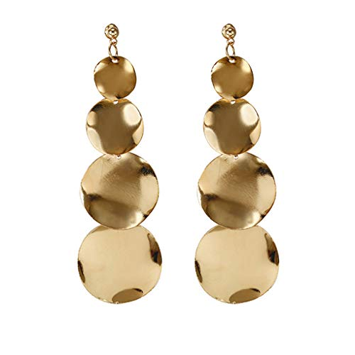 ceb16d5f0 Minzhi 1 Pair Fashion Gold Silver Color Irregular Geometric Round Dangle  Earrings Women Wedding Girl Prom
