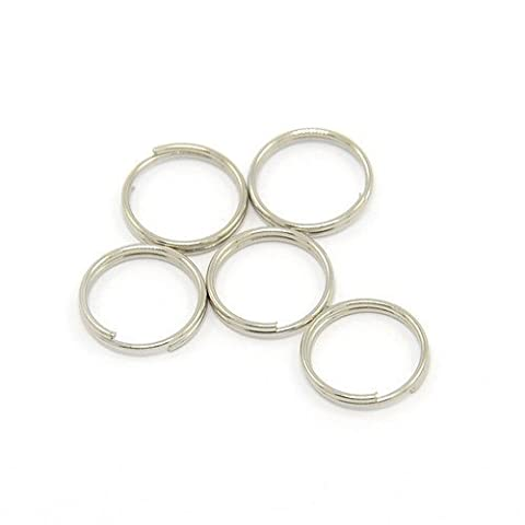 Packet of 350+ Antique Silver Plated Iron 0.7 x 6mm Split Rings - (HA11460) - Charming Beads
