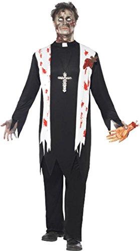 Erwachsenen-Kostüm für Herren, Halloween, Zombie-Priester-Kostüm, komplettes - Priester Für Erwachsenen Kostüm