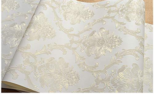 Carta da parati in stile vittoriano damascato goffrato, per camera da letto, bagno, soggiorno, decorazione per la casa, non lana, beige, 53cmx5m