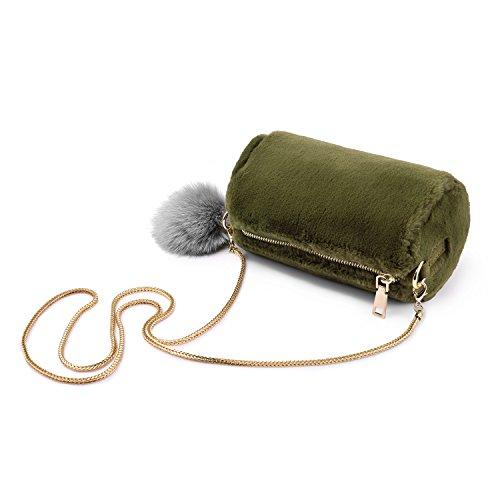 Crossbody damentaschen umhängetasche geldbeutel leichter hasen fell mit abnehmbaren fox pelztier schlange an der kette Grau-Lila Grün