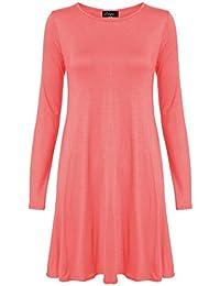 Neue Frauen Plus Size Flare Swing-Kleid Langarmshirt Hanky Hem Jersey-Kleid 36-54