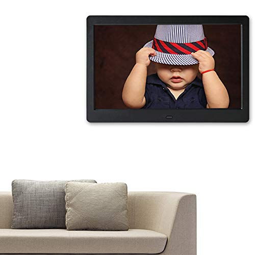 NINI 10.1 Zoll Digital Photo Frame, 1024 × 600 HD Picture Video-1080P Frame mit Motion Sensor, MP3-Musik, unterstützt Multiple File Formats und Externe USB-SD-Speicher,Black Motion Pictures Hd