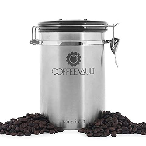 KAFFEEDOSE / AROMADOSE mit Deckel aus rostfreiem Edelstahl für die perfekte Aufbewahrung von Kaffee - Luftdichter Vorratsbehälter aus Premium Qualität mit Edelstahldosierlöffel gratis