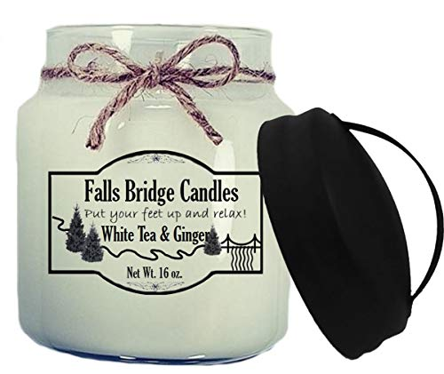 Falls Bridge Candles White Tea & Ginger Scented Jar Candle, 16-Ounce, w/Handle Lid Floral Ginger Jar