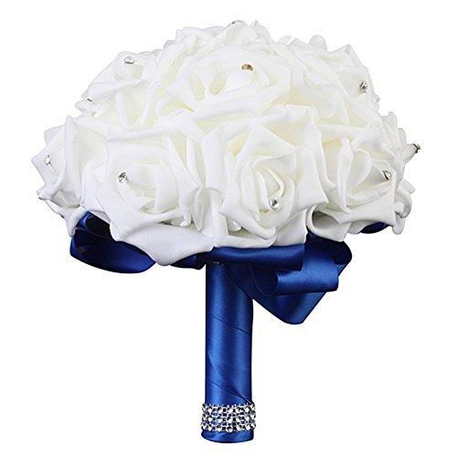 Patzbuch bouquet di fiori matrimonio, sposa, damigella d' onore avorio rose di schiuma seta nuziale bouquet artificiale per matrimonio, dark blue, l