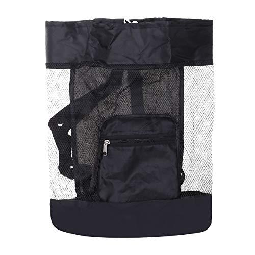 Kinder Rucksack Strand Mesh Einkaufstasche Faltbare Aufbewahrungstasche Sand Spielzeug Sea Shell Bag Baggerwerkzeug Tasche für Jugendliche Kinder (Schwarz)