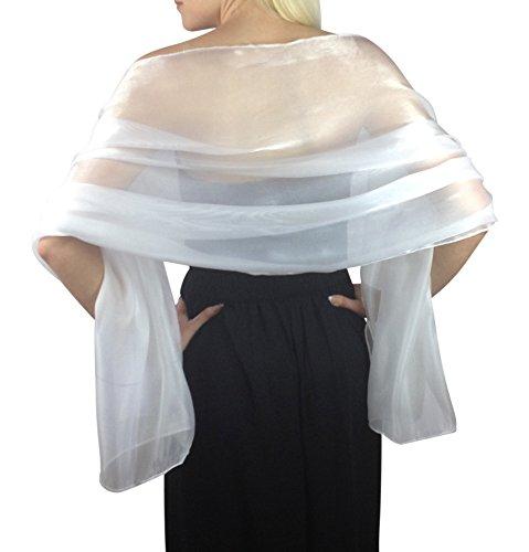 Atemberaubende Silky Iridescent Hochzeit Abschlussball Brautjungfern Wraps Stola Schal Pashmina - 24 Farben … (Silber-Grau)